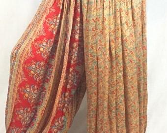 Tan and red upcycled silk sari harem pants for renaissance, tribal, belly dance, fusion, ATS, pantaloons