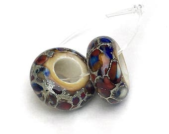 Handmade Artisan Lampwork Glass Big Hole Beads Multi Color Mosaic Ivory and .999 Fine Silver Set of 2 BHB Big Hole Beads MTO 6.5mm x 14mm