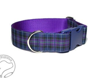 "Pride of Scotland Tartan Dog Collar / 1.5"" Wide(38mm) / Purple Plaid / Choice of style and size - Martingale Dog Collars or Quick Release"