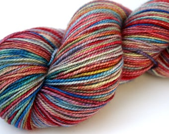 """Kettle Dyed Sock Yarn, Superwash Merino and Silk Fingering Weight,  in """"Watercolors"""""""