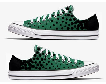 Converse Hand Painted Green with Black Polka Dots