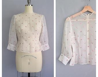 Rosine blouse | 1950s embroidered floral shirt | 50s vintage sheer top | s- m