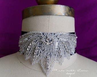 Victorian Choker Necklace, rhinestone crystal  wide black choker luxury style Jewelry Gothic goth Gypsy Great Gatsby