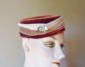 Riviera Pillbox Hat with Rhinestone Hat Pin, Ladys Velvet Hat, Womens Designer Hat from Italy