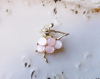 Ballerina Pin with Pink Mother of Pearl Tutu