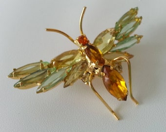 Julienna-Style Rhinestone Insect brooch Pin