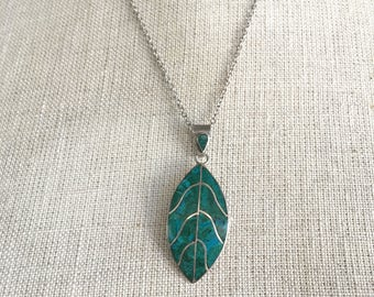 Chryscolla Necklace Leaf Pendant Necklace Blue Green Gemstone Southwestern Necklace Indian Pendant in Sterling Silver