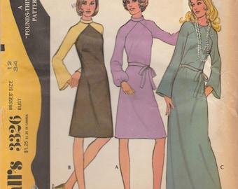 70s Raglan Sleeve Dress Pattern McCalls 3326 Size 12 Uncut