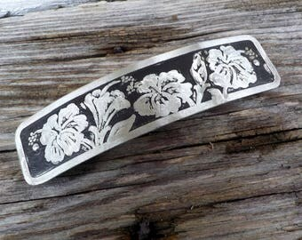 XL Hibiscus Hair Barrette. Hand etched extra large artisan metal barrette with hibiscus flower design on antiqued silver.
