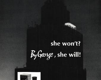 1964 By George Cologne Magazine Ad: She Won't, She Will