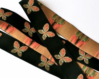 """Woven Ribbon - 1""""  Butterfly  in Black, Orange, Green and Yellow"""