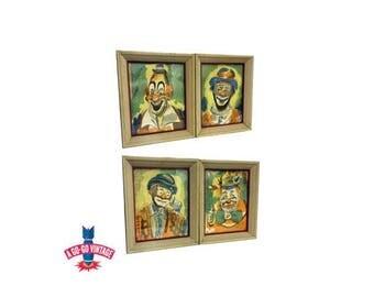 Vintage Clown Paintings, Circus Carnival Clown Watercolor Art Mid Century Modern