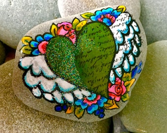 winged emerald heart / painted rocks/ painted stones/ heart rocks/ heart stones / boho art / hippie art / boho style / hearts with wings
