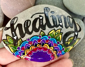 healing energy / painted rocks/ painted stones / get well gifts / sea stones / art on rocks / art on stones / hand painted rocks / boho art