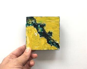 Torn ~ Acrylic Painting Original Art on Wood Block Shelf Sitter