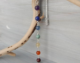 Gemstone Chakra Necklace. 7 Chakra Stones. Positive Energy Necklace. Chakra Jewelry. Peace Jewelry. Seven Chakra. Rainbow Necklace. Lariat