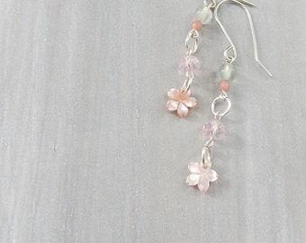 Flower Earrings. Cherry Blossom Earrings. Simple Dangle Earrings. Silver Shell Earrings. Gift for Her. Treat Yourself. Spring Earrings