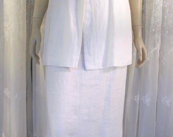 Vintage 90's Carole Little white linen maxi dress size 12