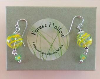 Sunny happy Yellow Glass Globe Dangle Earrings