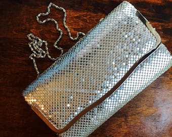 Silver Clutch Handbag, Pure Shiny Silver Glitz with Long Silver Chain