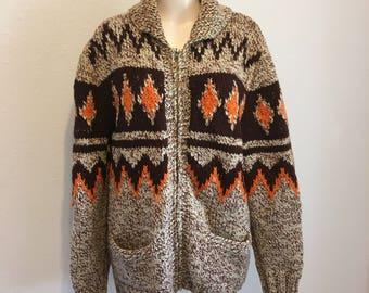 Vintage Cowichan Sweater, Vintage Siwash Sweater, Brown and Orange Knit Sweater, Vintage Cardigan, Lebowski Sweater