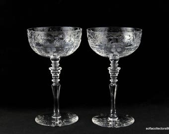Rock Sharpe Stem 1016 Countess Pattern Champagne Glasses / Champagne Coupes - Cut Leafy Floral Pattern - Vintage 1940s Stemware (pairs)