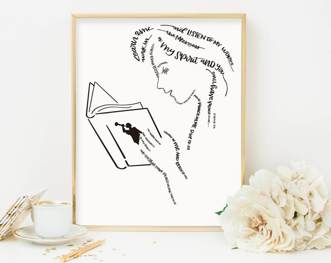 Learn, Listen, Walk - The 2018 LDS Youth Theme is used to form this beautiful image of a Young Woman reading her scriptures
