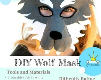 PDF PATTERN.  Kids Wolf Mask/Costume.