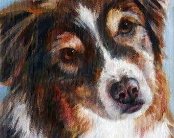 5x7 Dog pet portrait Custom oil painting from photos, Commissioned pet artwork by Janet Zeh Original Art