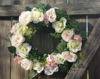 "Garden Roses Wreath 20"" Custom Handmade Pink Cream Hydrangeas Floral Design Romantic Shabby Chic Cottage French Rustic Garden Wedding"