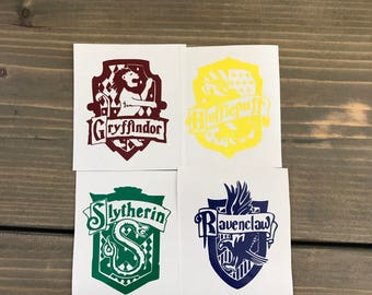 Hogwarts House Crests Vinyl Decals, Gryffindor, Hufflepuff, Ravenclaw, Slytherin, Harry Potter, Yeti Decal, Laptop, Cell Phone, Car Decal