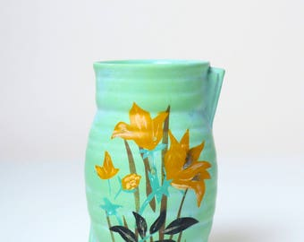 Art Deco Brentleigh Ware Marwood vase 1930s, daffodil flowers handpainted decor, vintage pen brush pot, antique English kitchen table decor