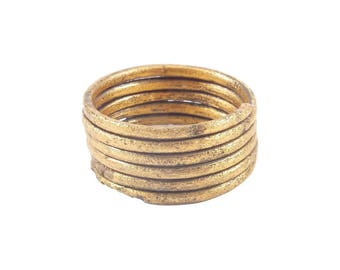 Authentic Ancient Viking Coil Ring Norse Wedding Band Jewelry, 850-1050 A.D. Size 9. 19mm inner diameter. (JNS300)