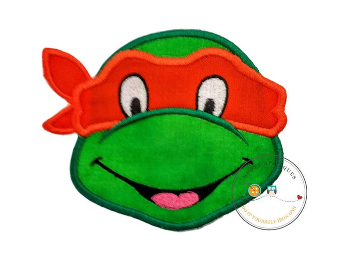 Large Orange turtle ninja face - iron embroidered fabric applique patch embellishment- ready to ship