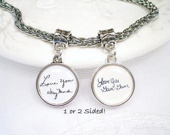 Signature Charm for Pandora Bracelet Dangle Charm Gift for Wife Memory Charm for Bracelet Handwriting Charm Mom Gift for Grandmom Photo Gift