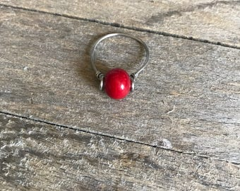 minimalist red glass thin ring