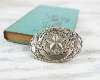 Vintage State of Texas Brass Belt Buckle by Tony Lama