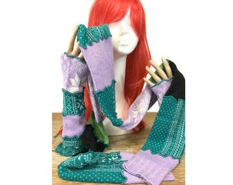 Upcycled Scarf & Arm Warmers Set, Upcycled Scarf, OOAK Arm Warmers, Upcycled Clothing, OOAK Scarf Set, OOAK Upcycled Fingerless Gloves