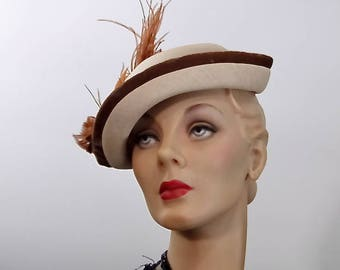 1950's Straw Profile Hat with Large Feather Plume and Velvet Trim