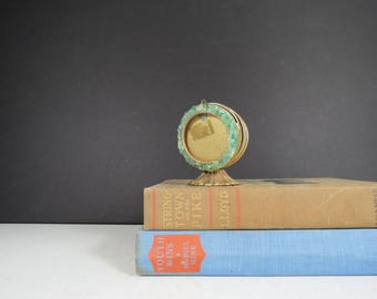 Vintage Photo and Letter Holder // Brass Art Deco Style Jade Green Stone Frame and Mail Rack Desk Organizer Memo Receipt Holder Gift Idea