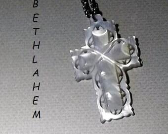 Vintage Mother of Pearl Cross, Carved, Bethlehem