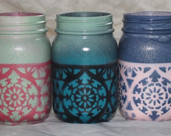 Handmade Candles.  Vibrant Hand-painted  Bohemian Style Candles. Bold Design. One of a Kind.