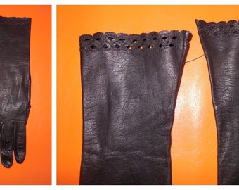 Vintage Gloves 1950s 60s Black Kid Leather Gloves Ruffle Eyelet Cutouts Elegant Rockabilly Boho Black Leather Gloves M L
