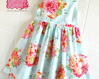 Blue Floral June Dress - girls dress, girls summer dress, Blue dress, party dress, tea party dress, flower girl dress, toddler dress,