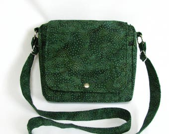 Small messenger- Forest green batik cotton