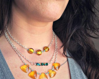 Collier Boho chic /  Verre de Murano et cristal //  Boho chic necklace / Murano glass and crystal