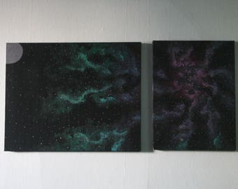 NLK-1603 Moon and Galaxy Two-Piece Painting, original artwork