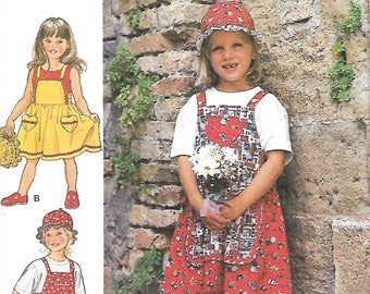Style 2606 Little Girls Overalls, Jumper And Hat Sewing Pattern, Size 2-7,  UNCUT