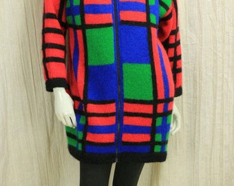 Turtleneck zipper front wool sweater coat Women plaid red mohair sweater jacket Vintage colorful knit coat Oversized 90s grunge clothing S