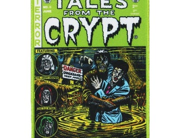 Tales From The Crypt Green Comic Patch Horror Embroidered Iron On Applique